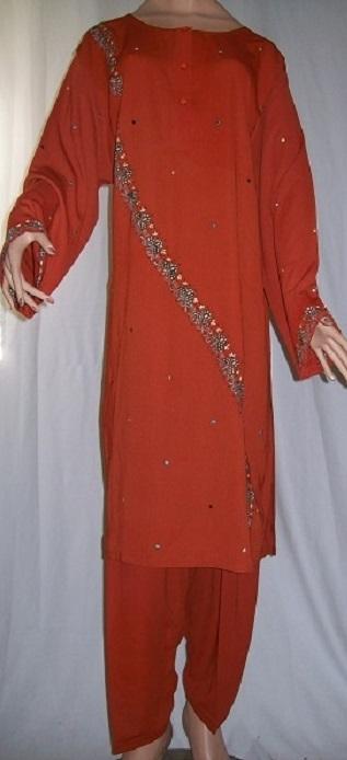 2-teiliger Anzug - Oberteil bestickt rot