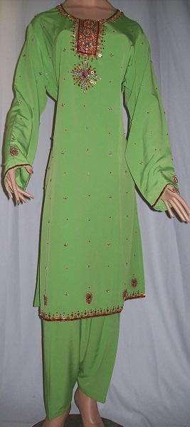 Salwar Kameez mit Stickerei - grün