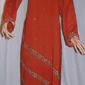 Salwar Kameez - Oberteil bestickt rot M
