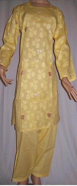 Salwar Kameez (gelb) bestickt S