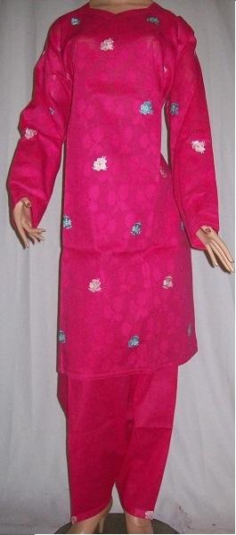 Zweiteiliger Frauenanzug (rosa) bestickt XL