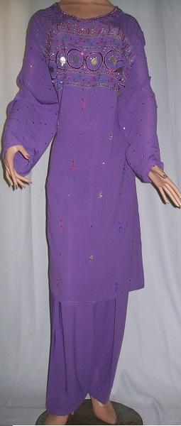 Frauenanzug handbestickt - lila