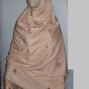 Großer Schal in braun - bestickt