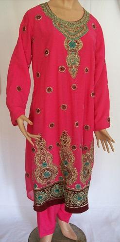 Salwar Kameez, festliches rosa Kleid mit Stickerei