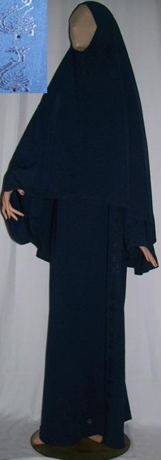 Dreiteiliges Burkaset blau XL - 146 cm Länge