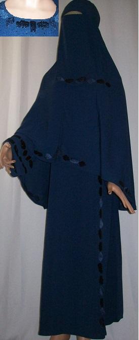Dreiteiliges Burkaset blau L - 149 cm Länge