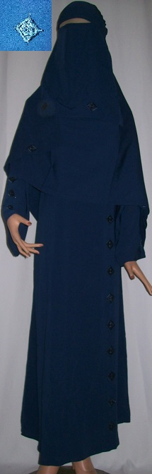 Dreiteiliges Burkaset blau L - 148 cm Länge