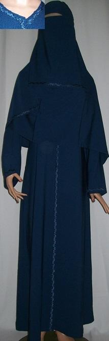 Dreiteiliges Burkaset blau S - 146 cm Länge