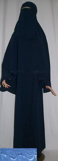 Zweiteiliges Burkaset blau XL - 144 cm Länge