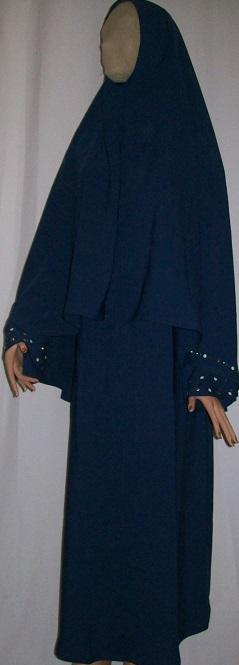 Zweiteiliges Burkaset blau S - 134 cm Länge