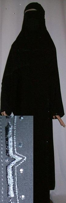 Zweiteiliges Burkaset schwarz M - 142 cm Länge