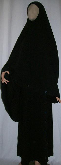 Zweiteiliger Burka schwarz L - 135 cm Länge