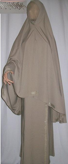 Zweiteiliges Burkaset graubraun L - 140 cm Länge