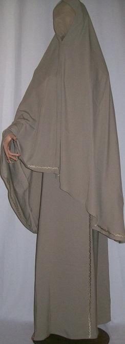 Zweiteiliger Burka graubraun mit Stickerei S - 149 cm Länge