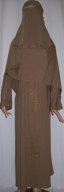 Zweiteiliges Burkaset braun M - 139 cm Länge