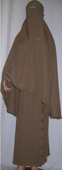 Zweiteiliges Burkaset braun M  - 137 cm Länge