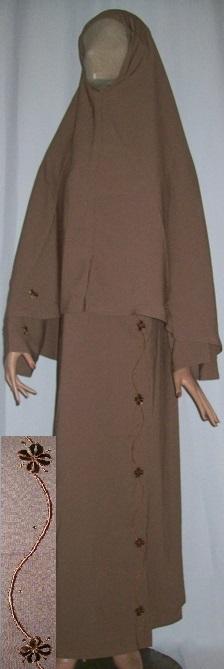 Zweiteiliger Burka braun M - 138 Länge