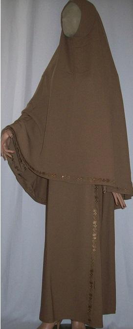 Zweiteiliges Burkaset braun S - 140 cm Länge