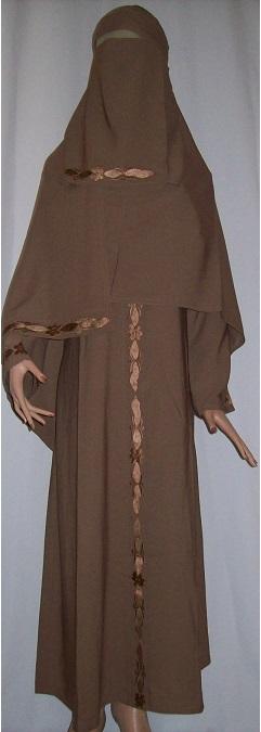 Dreiteiliges Burkaset braun L - 138 cm Länge