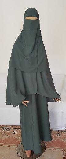 Dreiteiliges Burkaset grün - S - Länge