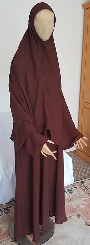 Zweiteiliger Burka braun M - 138 cm Länge