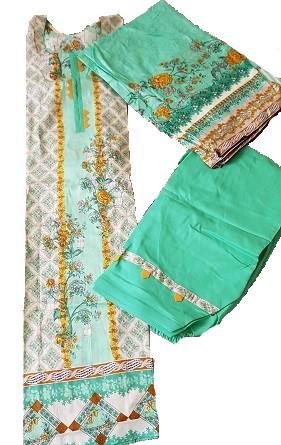 3 teiliger Shalwar Kamiz  - grün/weiß S