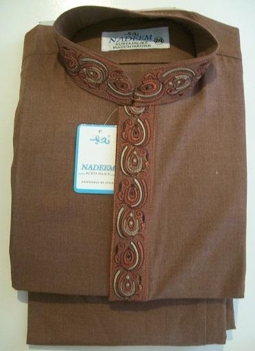 Salwar Kameez mit Stickerei - braun Größe 24